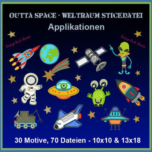 Space astronauts giga set embroidery