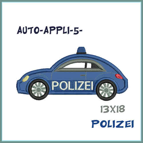 Car 5 - police car set embroidery