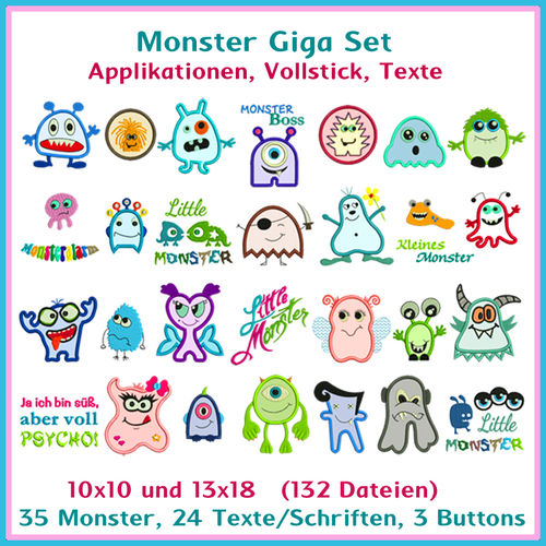 Monster giga set applique embroidery