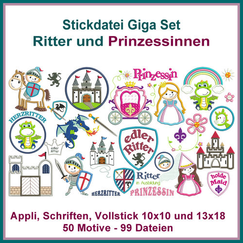Ritter Prinzessinnen Set Appli Stickdatei