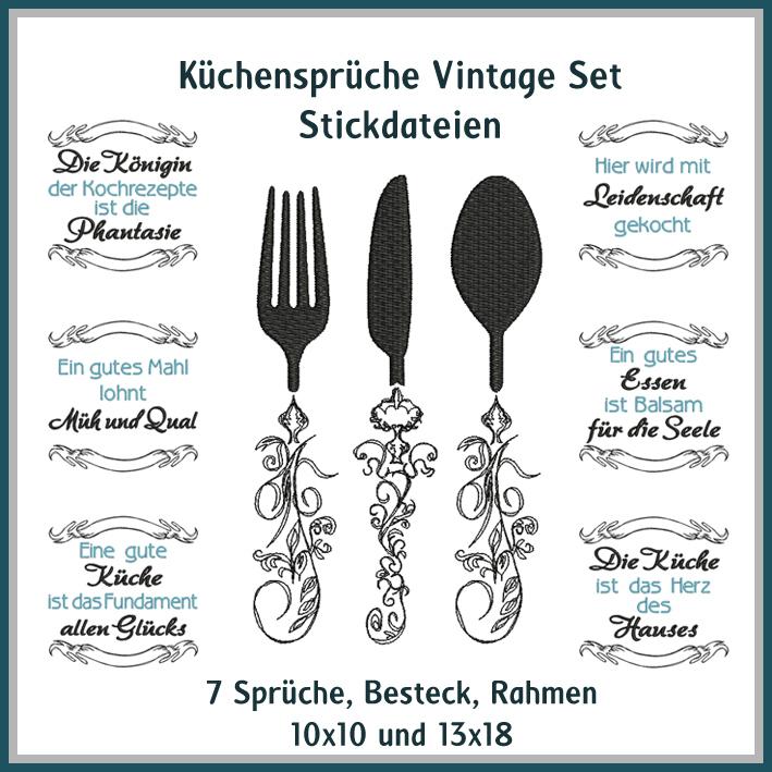 küchen sprüche Küchensprüche Vintage Set   Rock Queen Stickdateien küchen sprüche