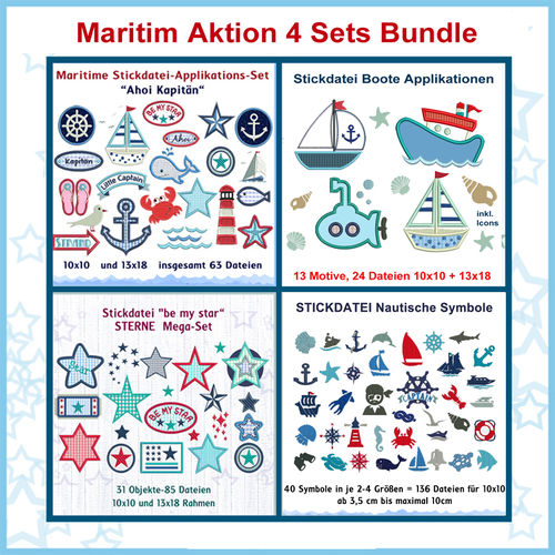 Stickdatei Bundle Aktion Maritim 1 Angebot 4 Sets