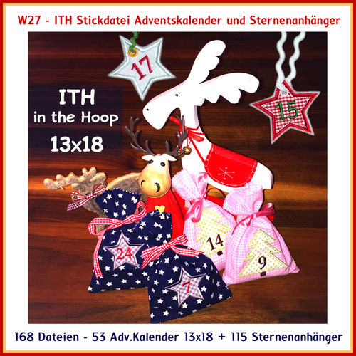 W27 advent calender startrailers for hoop 13x18cm