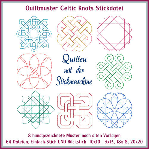 Quilt pattern celtic knots embroidery