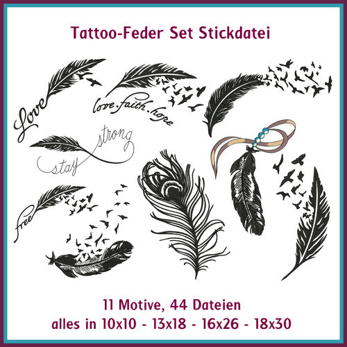 Tattoo feathers embroidery