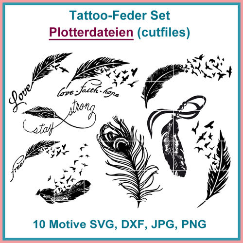 Cut-file feather tattoo