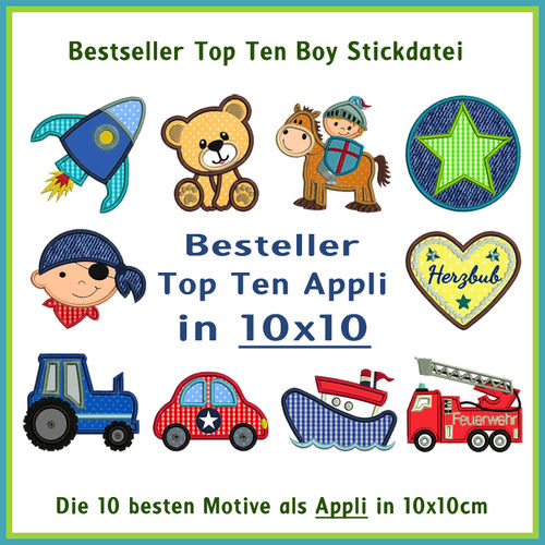 Bestseller Top Ten BOY 10x10 Stickdateien