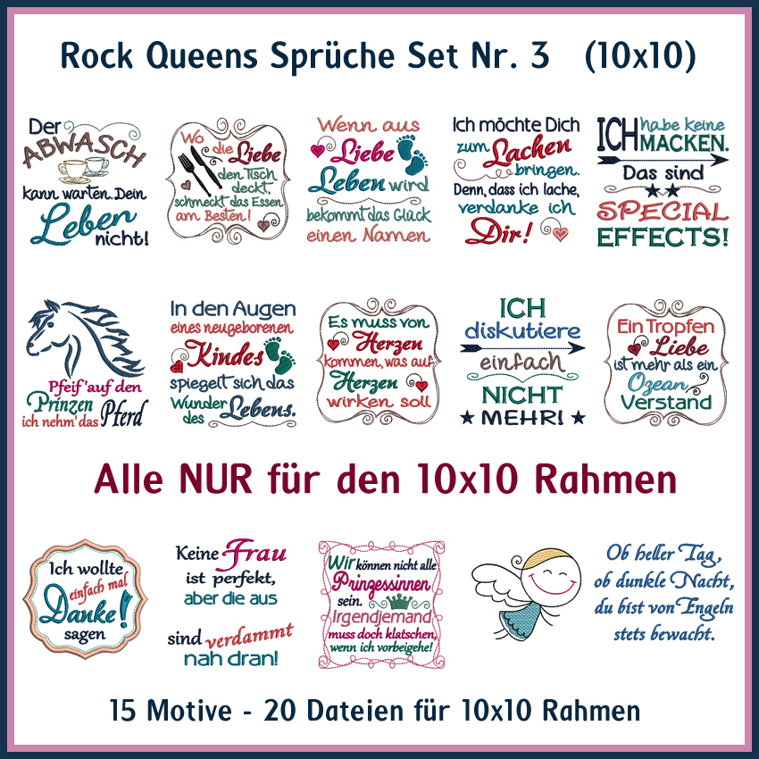 queen sprüche Rock Queens Sprüche Set 03   Rock Queen Stickdateien queen sprüche