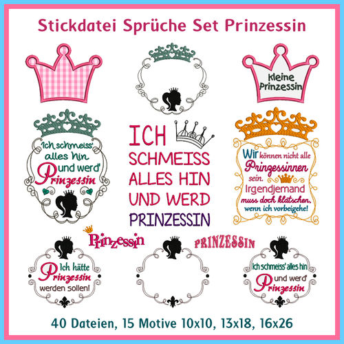Princess sayings set embroidery