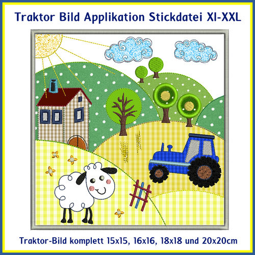 Tractor image farm embroidery