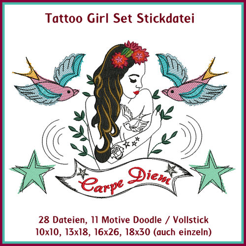 Tattoo Girl embroidery set