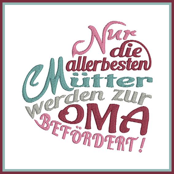 Stickdatei Spruch Herz Nur die besten Mütter - Rock-Queen