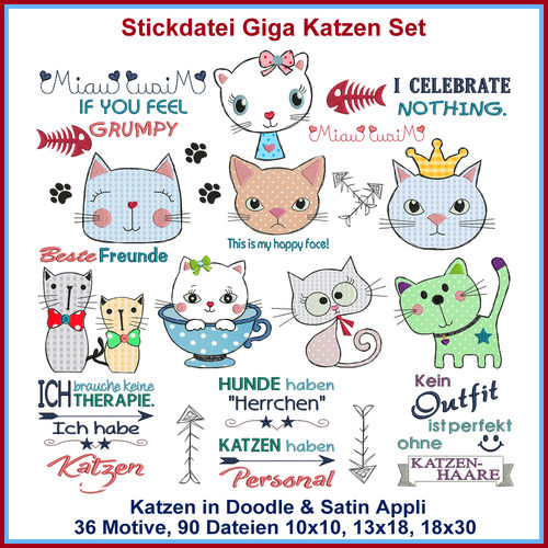 Stickdatei Giga Katzen Applikations Set