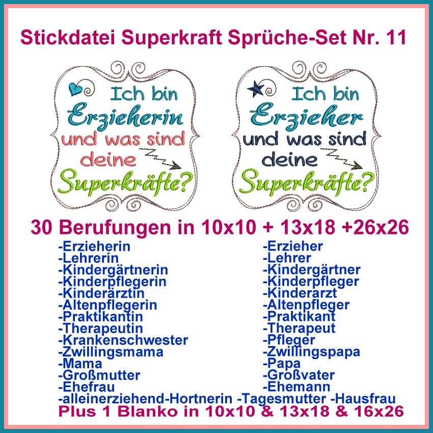 Stickdatei Superkraft Sprüche Set Nr. 11