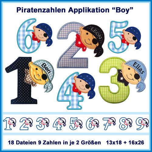 Stickdatei Piratenzahlen 1-9 Boy