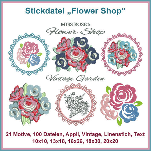 Stickdatei Flower Shop Set Blumen Rosen