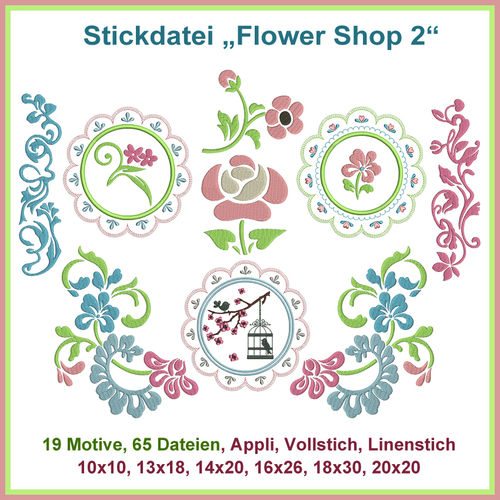 Stickdatei Flower Shop Set 2 Blumen Rosen