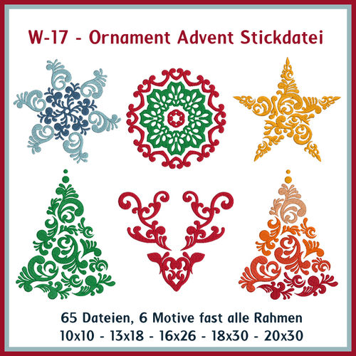 W17-Ornament Advent Stickdatei Baum Stern Weihnachten