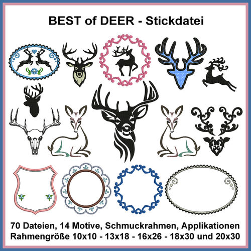 Best of deer Hirsche Rehe Geweihe Stickdatei