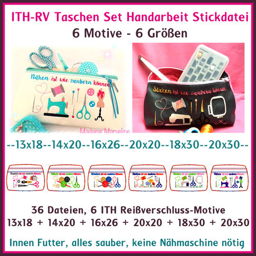 ITH in the hoop Bags Handmade Embroidery File German phrases