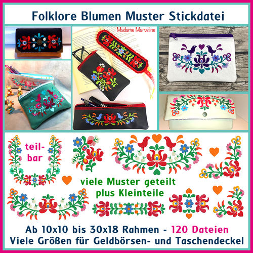 Embroidery file Folklore Flowers Pattern Set Hungarian Patterns