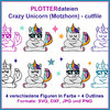 Plotterdatei Crazy Unicorn Cutting Set - cutfile