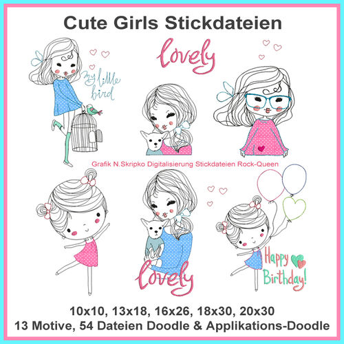 Cute Girls embroidery files line work