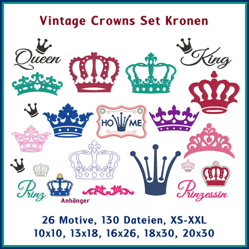 Vintage crowns embroidery set