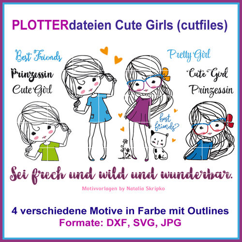 Cut-file Cute Girls Cutting Set