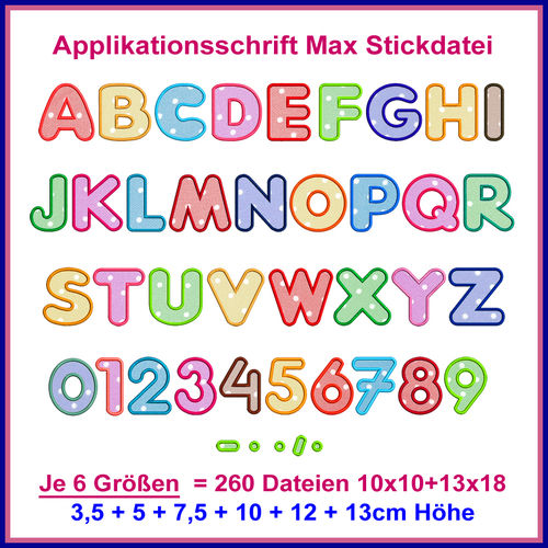 Font Max applique embroidery file letters fonts