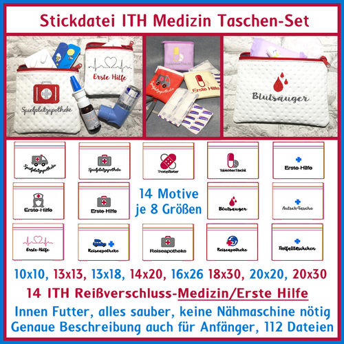 ITH in the hoop Bag Set Medicine German phrases