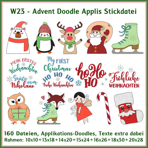 W23 Advent Doodle applique Embroidery Set
