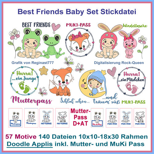 Best Friends Baby Doodle line work applique Embroidery Set