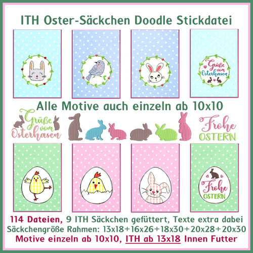 ITH Easter bag Doodle line work embroidery file