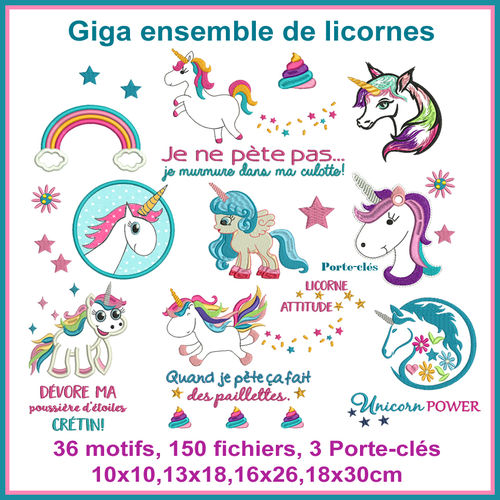 Unicorn embroidery set french version