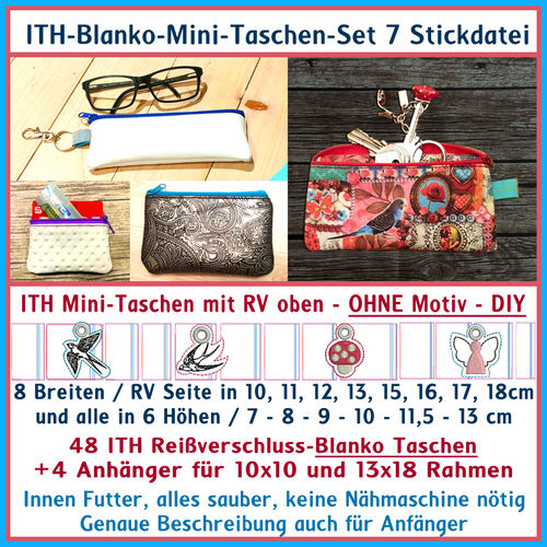 ITH-in the hoop Mini-Bags-Set No 7 Embroidery file