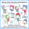 Winter Kids embroidery files Doodle stitches sleigh girl boy skates