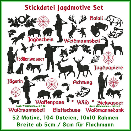 Jagdmotive Stickdatei Set