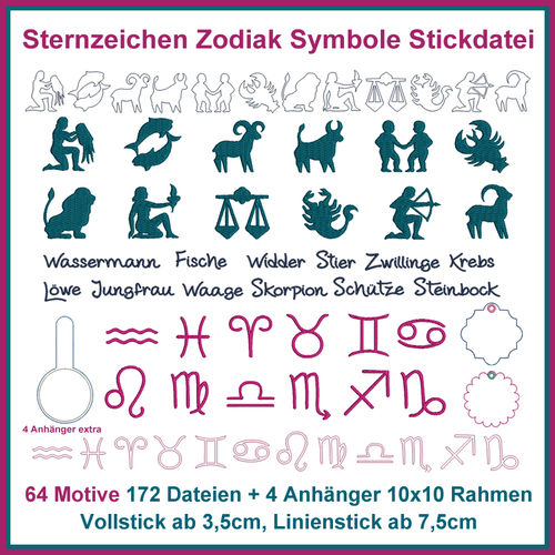 Zodiac symbols embroidery file