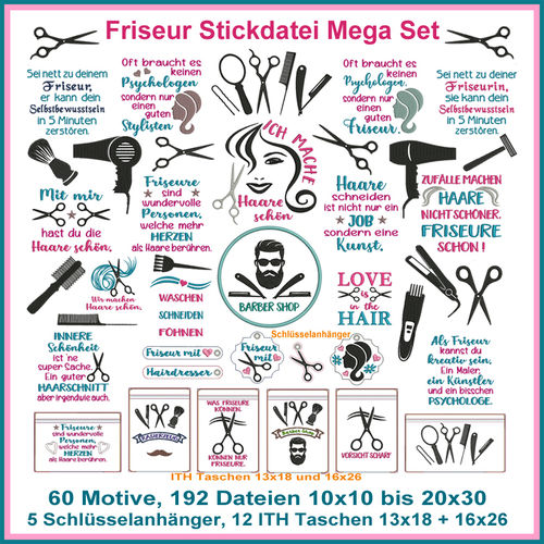 Hairdresser embroidery file Mega Set German phrases
