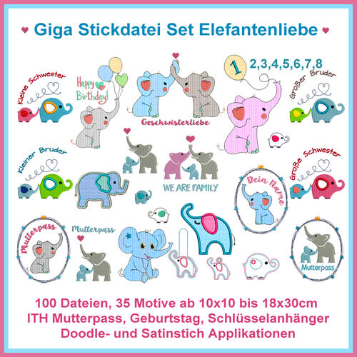 Fichiers de broderie Elephant love Doodle Applications Motifs de broderie complets Giga Set