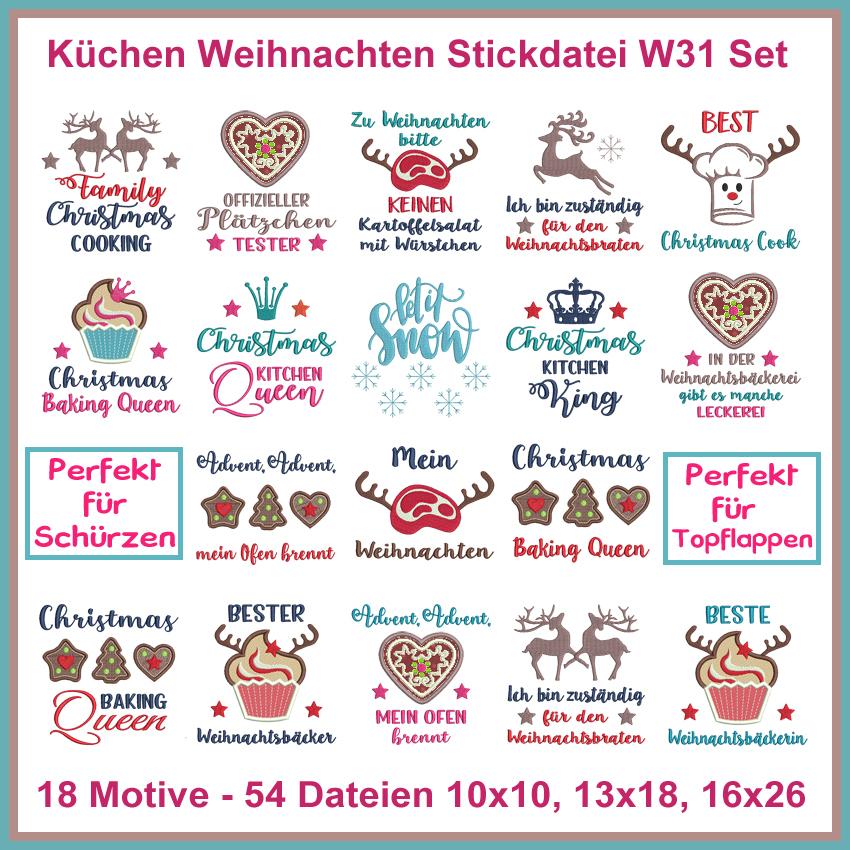 Stickdateien W31 Weihnachtsküche Weihnachen Küche Sprüche Christmas kitchen  Set