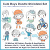 Cute Boys Doodle embroidery files Line stitches Boys