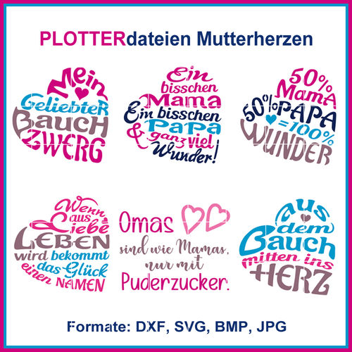 Cut-file German phrases mother heart cutting file Set