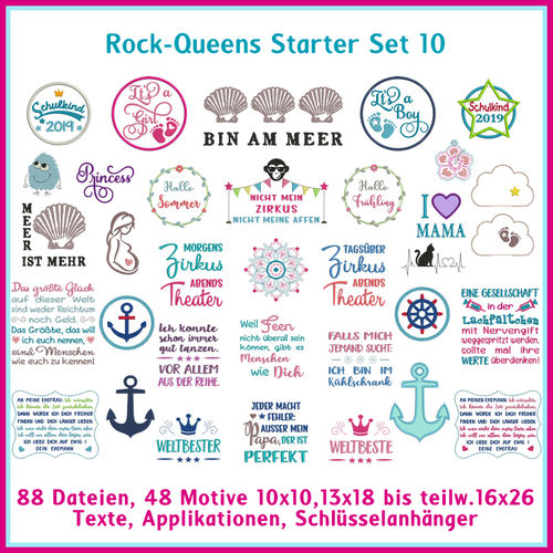 Rock-Queens Starter Set10 Stickdateien Set