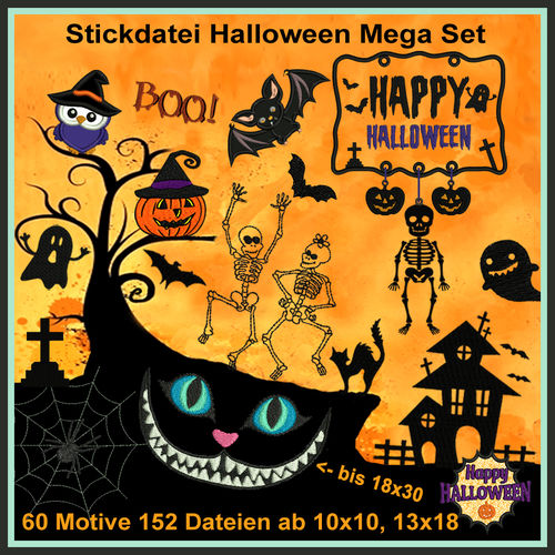 Stickdatei Happy Halloween Party Hexen Skelett Spinnen Monsterkatze Set