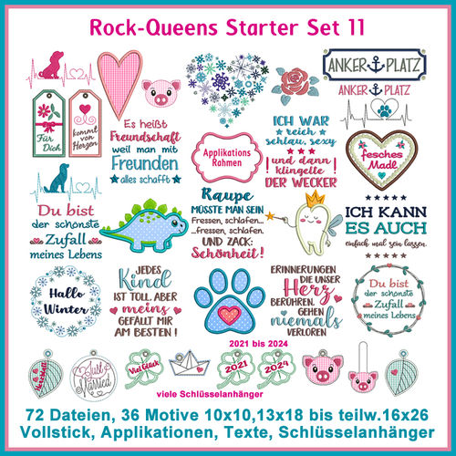 Rock-Queens Starter Set11 Stickdateien Set 11