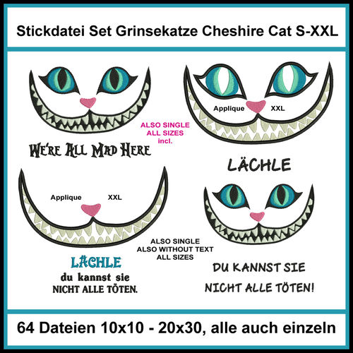 Embroidery file set grinning cat Cheshire Cat Alice cat applique