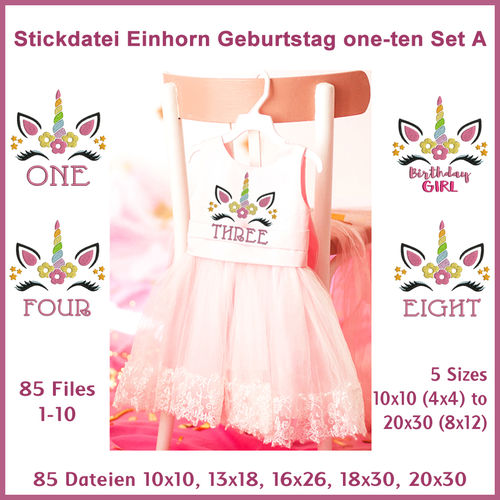 Stickdatei Einhorn Geburtstag Unicorn Birthday Girl Set A