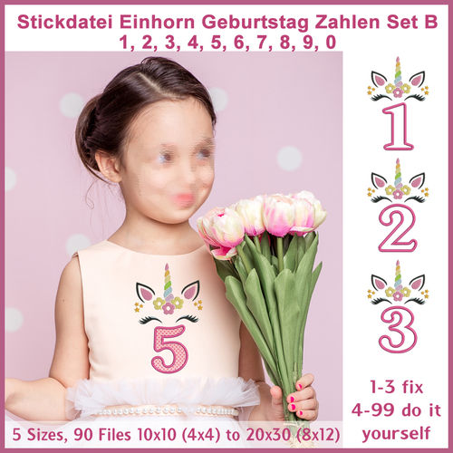 Stickdatei Einhorn Zahlen Geburtstag Set B Unicorn Numbers Birthday Girl Set B